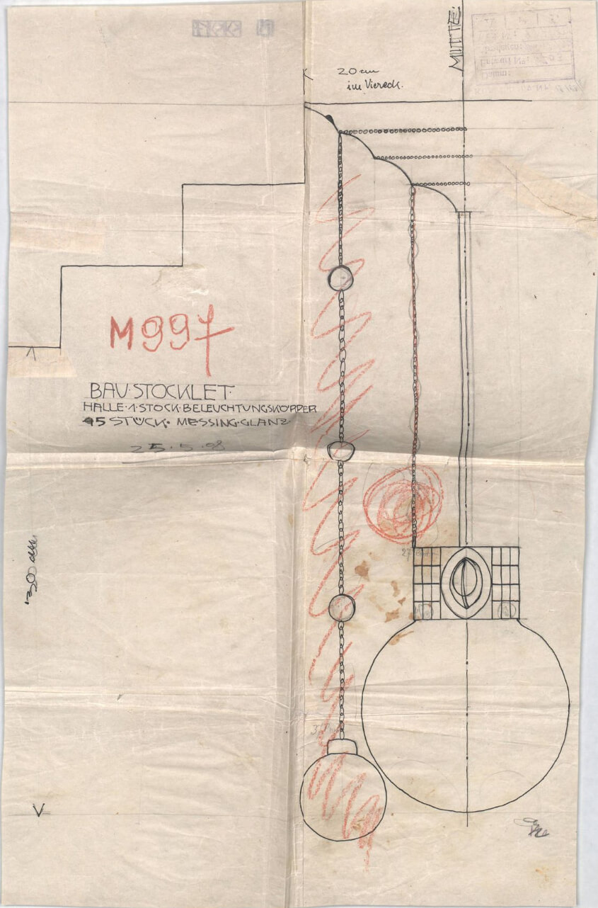 The original drawing shows red penciled corrections done by Josef Hoffmann